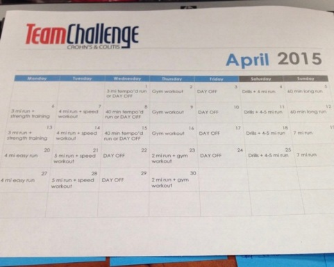 team challenge training calendar